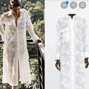 Zara tunic embroidered lace white long shirt dress